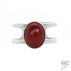 Bague cornaline ovale cabochon sur double anneau ouvert en argent 925, pierre naturelle
