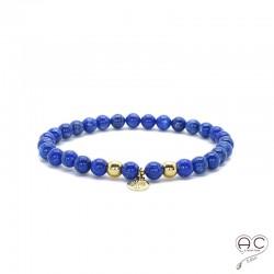Bracelet lapis lazuli pierre naturelle, pampille arbre de vie en plaqué or, élastique, création