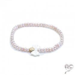 Bracelet perles d'eau douce roses, noeud en nacre blanc et pastille en plaqué or, femme, création