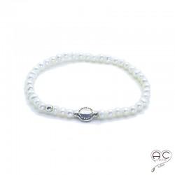 Bracelet perles d'eau douce blanches et pastille en argent 925, femme, création