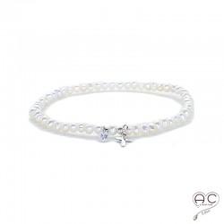 Bracelet perles d'eau douce, croix en argent 925 et petit brillant en cristal, élastique, gipsy, bohème, création