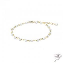 Bracelet perles de culture d'eau douce sur une chaîne en argent doré à l'or fin 18 carats, création