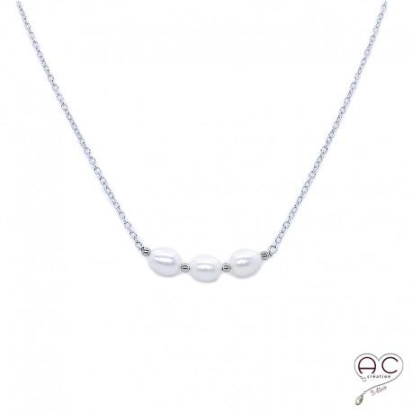 nouvelle collection mode de vente chaude vente usa en ligne collier perle de culture d'eau douce argent ras de cou femme création