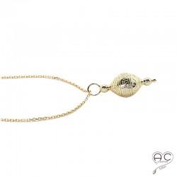 Collier pendentif toupie en plaqué or, gravé, tendance