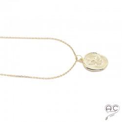 Médaille ronde sceau avec l'abeille en plaqué or, vintage, tendance, bohème