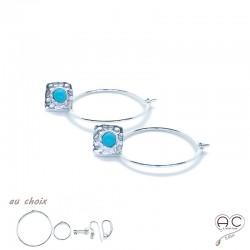 Boucles d'oreilles, crèoles avec un carré martelé en argent 925 serti de turquoise, choix des différentes attaches, femme