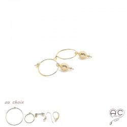 Boucles d'oreilles avec toupie inspiré de l'oeuf Fabergé en plaqué or gravé et choix des différentes attaches, pendantes