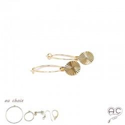 Boucles d'oreilles avec une médaille soleil en plaqué or et choix des différentes attaches, pendantes, création