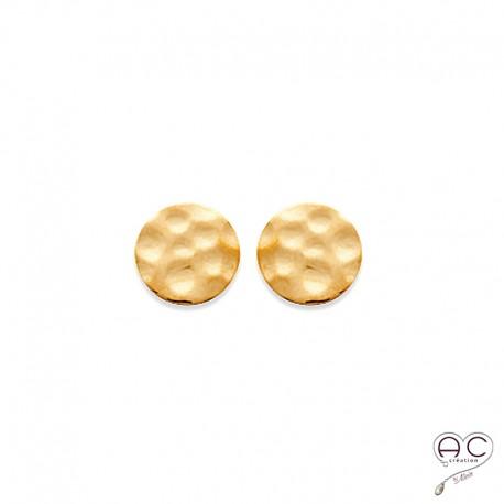 Boucles d'oreilles puce ronde en plaqué or martelé, clous, femme