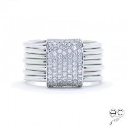 Bague joaillerie semainier barette serti pavé zirconium blanc anneaux multiples argent 925 rhodié