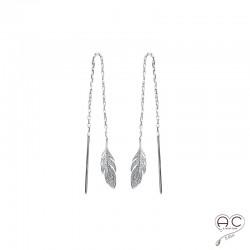 Boucles d'oreilles plumes sur une chaine, traversantes, pendantes, en argent 925rhodié, femme, tendance