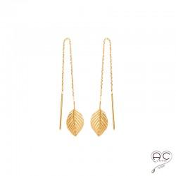 Boucles d'oreilles feuilles sur une chaine, traversantes, pendantes, en plaqué or, femme, tendance