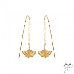 Boucles d'oreilles GINKGO feuilles sur une chaine, traversantes, pendantes, en plaqué or, femme, tendance