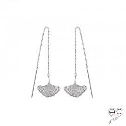Boucles d'oreilles GINKGO feuilles sur une chaine, traversantes, pendantes, en argent 925rhodié, femme, tendance