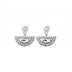 Boucles d'oreilles contours dessous lobes, demi-lune en argent 925 rhodié martelé serti de zirconium brillant, femme