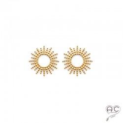 Boucles d'oreilles SOLA, puces d'oreilles soleil, ajouré, ronde en plaqué or, clous, femme