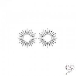 Boucles d'oreilles SOLA, puces d'oreilles soleil, ronde en argent 925 rhodié, clous, femme