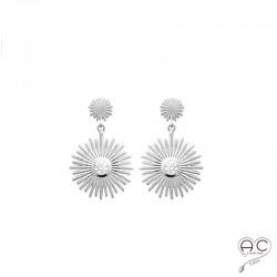 Boucles d'oreilles pendantes SANIA, soleil avec un zircon brillant sertie clos, en argent 925 rhodié satiné, femme
