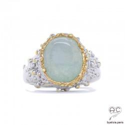 Bague JADE avec jade véritable en cabochon entouré de petites perles en argent 925 doré à l'or fin 18K, création