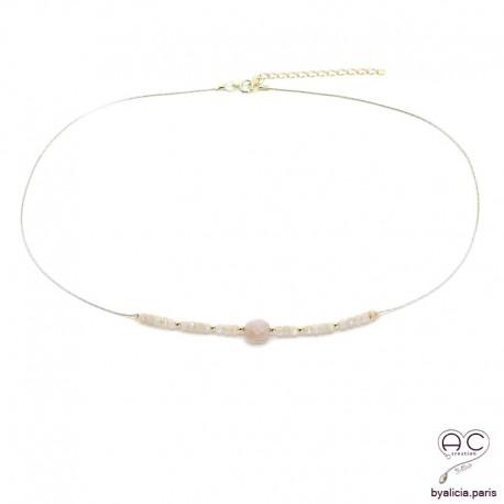 Collier pierre de soleil sur une chaîne en plaqué or, ras de cou, bohème chic, création