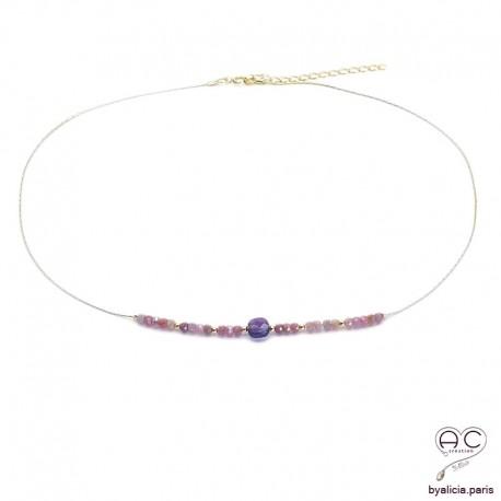 Collier améthyste et rubis sur une chaîne en plaqué or, ras de cou, bohème chic, création
