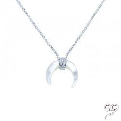 Collier avec croissant de lune en nacre, ras du cou en argent 925 rhodié sertie de zirconium brillant, femme