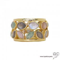 Bague BAYA pierres naturelles multicouleur serti clos tour complet sur anneau ajouré en plaqué or, femme