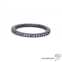 Bague anneau fin, alliance en argent 925 rhodié noir sertie de zirconium gris brillant tour complet, femme
