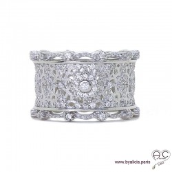 Bague dentelle anneau large serti de zirconium brillant, argent 925 rhodié, joaillerie
