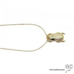 Collier pendentif SCARABÉE porte-bonheur en plaqué or, tendance, femme