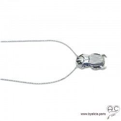Collier pendentif SCARABÉE porte-bonheur en argent massif 925, tendance, femme