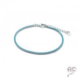 Bracelet fin rivière turquoise argent 925 rhodié