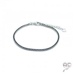 Bracelet fin rivière zirconium noir argent 925 rhodié