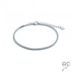 Bracelet fin rivière zirconium blanc argent 925 rhodié