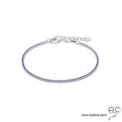 Bracelet ELFY fin, rivière avec zirconium brillant violet serti sur argent 925 rhodié, souple, femme, joaillerie