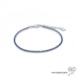 Bracelet ELFY fin, rivière avec zirconium brillant bleu saphir serti sur argent 925 rhodié, souple, femme, joaillerie