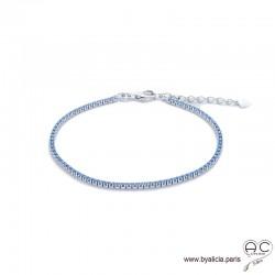 Bracelet ELFY fin, rivière avec zirconium brillant bleu ciel serti sur argent 925 rhodié, souple, femme, joaillerie
