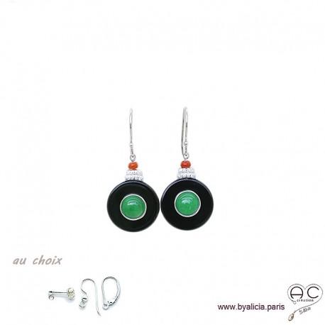 Boucles d'oreilles rond inspiration Art Déco en onyx noir et jade, argent massif 925 serti de zircon et corail, femme