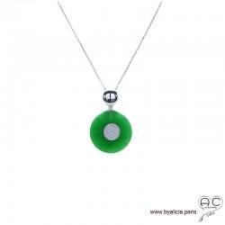 Collier pendentif rond en jade et argent massif 925 sertis de zircon, inspiration Art Déco, joaillerie, femme