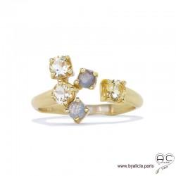 Bague EYMA avec petits citrines et labradorites sur un anneau fin ouvert en plaqué or, pierres naturelles, femme