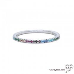 Bague anneau fin, alliance en argent 925 rhodié sertie de zirconium multiculeur brillant tour complet, femme