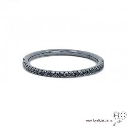 Bague anneau fin, alliance en argent 925 rhodié noir sertie de zirconium noir brillant tour complet, empilable, femme