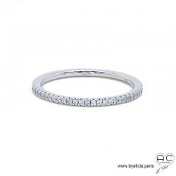 Bague anneau fin, alliance en argent 925 rhodié sertie de zirconium brillant tour complet, empilable, femme