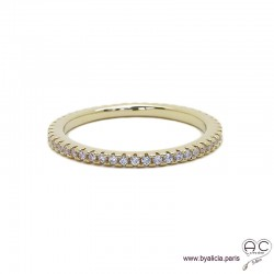 Bague anneau fin, alliance en plaque or sertie de zirconium brillant tour complet, empilable, femme