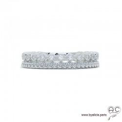 Bague anneau ajourée en argent 925 rhodié serti de zirconium brillant, femme