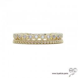 Bague anneau ajourée en plaqué or serti de zirconium brillant, empilable, femme