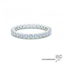 Bague anneau fin sertie de zirconium brillant tour complet en argent 925 rhodié, alliance, empilable, femme