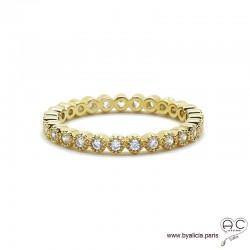 Bague anneau fin sertie de zirconium brillant tour complet en plaqué or, alliance, empilable, femme