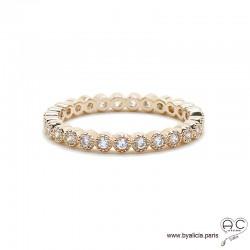 Bague anneau fin sertie de zirconium brillant tour complet en plaqué or rose, alliance, empilable, femme