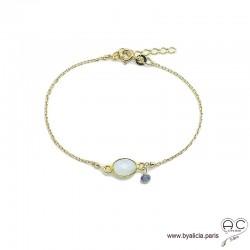 Bracelet pierre de lune ovale avec une pampille en pierre naturelle sur une chaîne en plaqué or, fin, création by Alicia